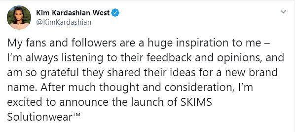 Kim's Tweet