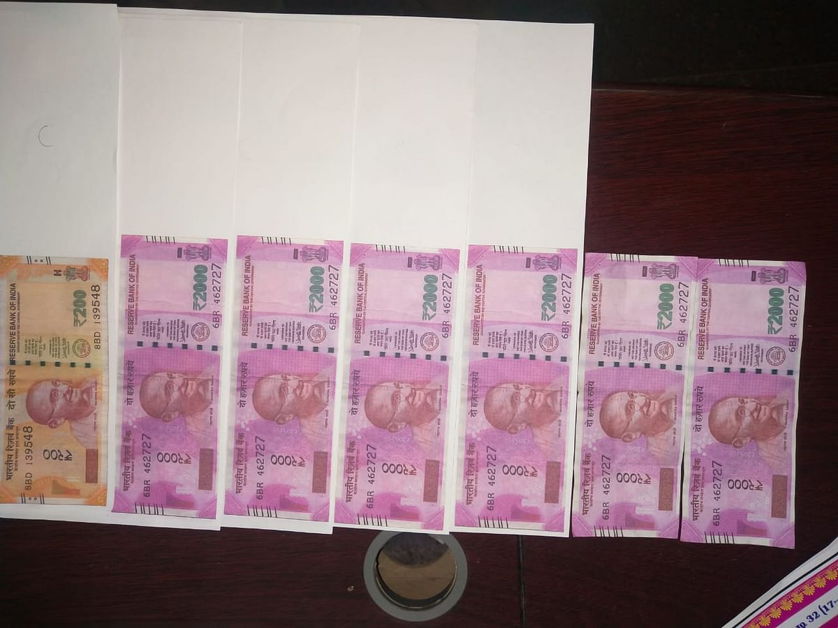 Confiscated counterfeit fake rupees