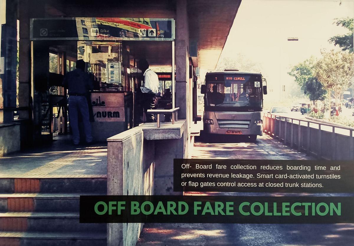 BRTS வழித்தட பேருந்துகளுக்கான டிக்கெட் கவுன்ட்டர்