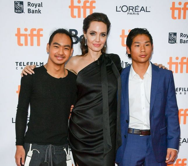 Angelina with her sons