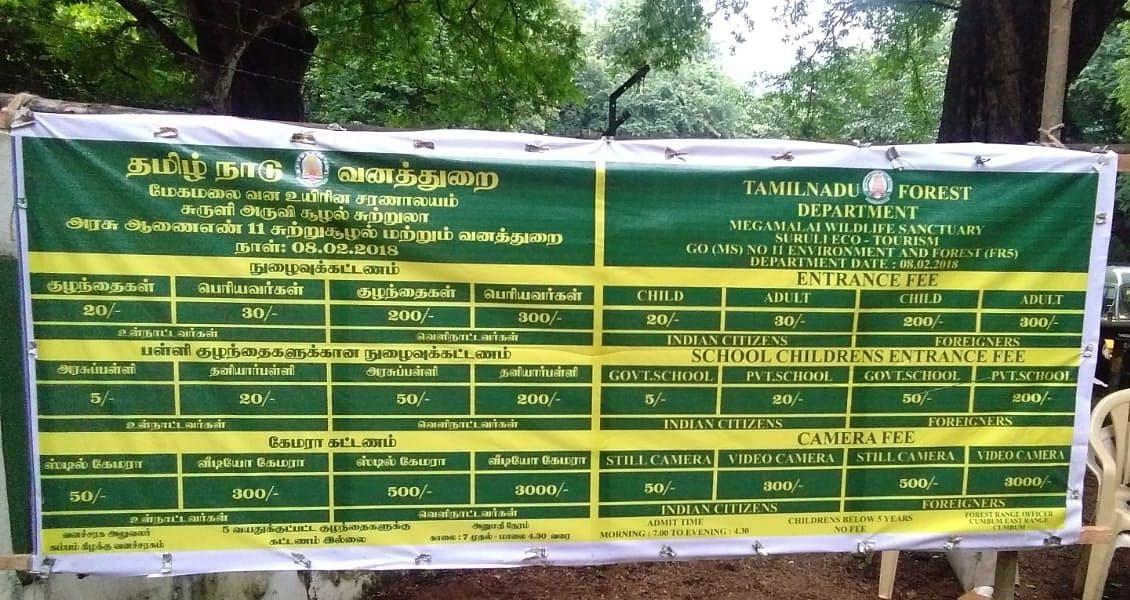 Fee List in Surulii Falls