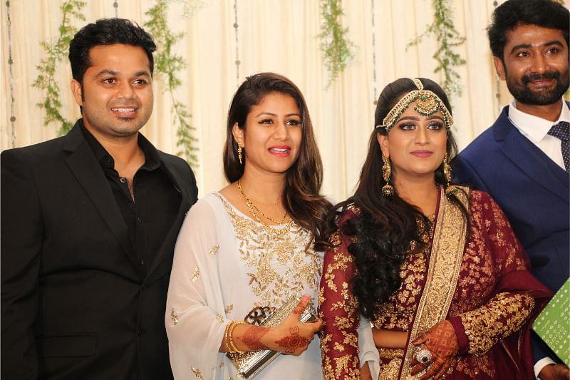 alya manasa, sanjeev at actress shabnam wedding reception