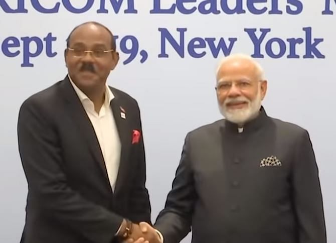 Antiqua PM With Indian PM Modi