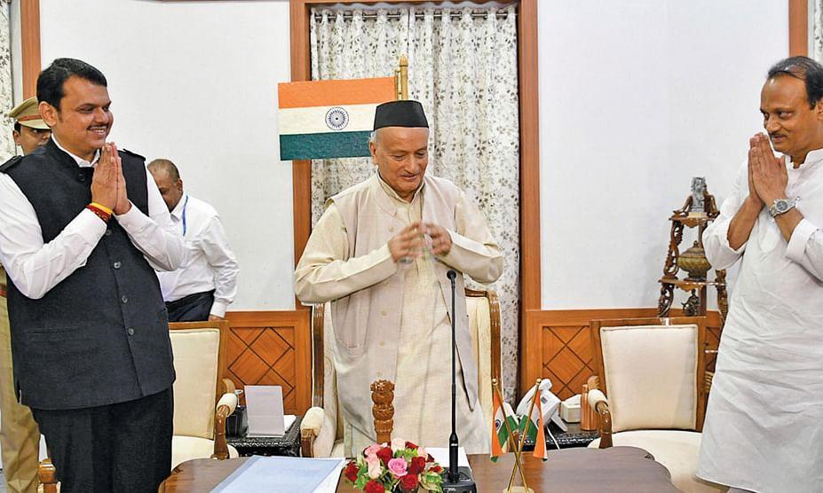 தேவேந்திர பட்னாவிஸ், பகத்சிங் கோஷ்யாரி, அஜித் பவார்