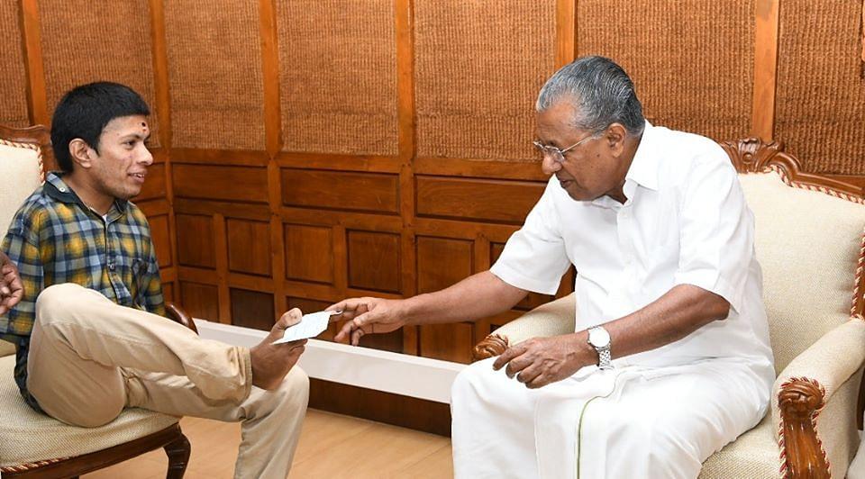 Pranav with Kerala Chief Minister