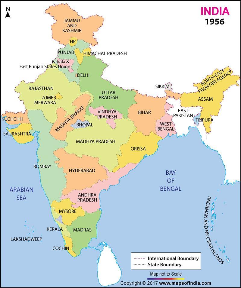 இந்திய வரைபடம் - மாநிலங்கள் பிரிக்கப்பட்ட பிறகு.