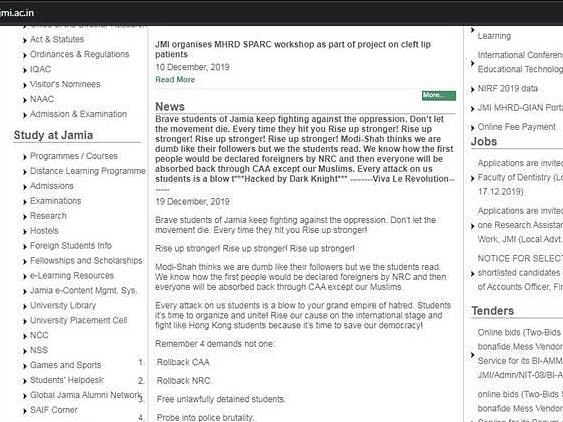 `டெல்லி போலீஸ்; மாணவர்கள் போராட்டம்!' - முடக்கப்பட்ட ஜே.எம்.இ பல்கலை இணையதளம் #CAA