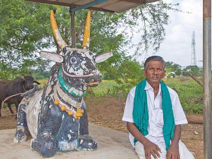 காளைச் சிலைக்கு அருகே சின்னா கவுண்டர்