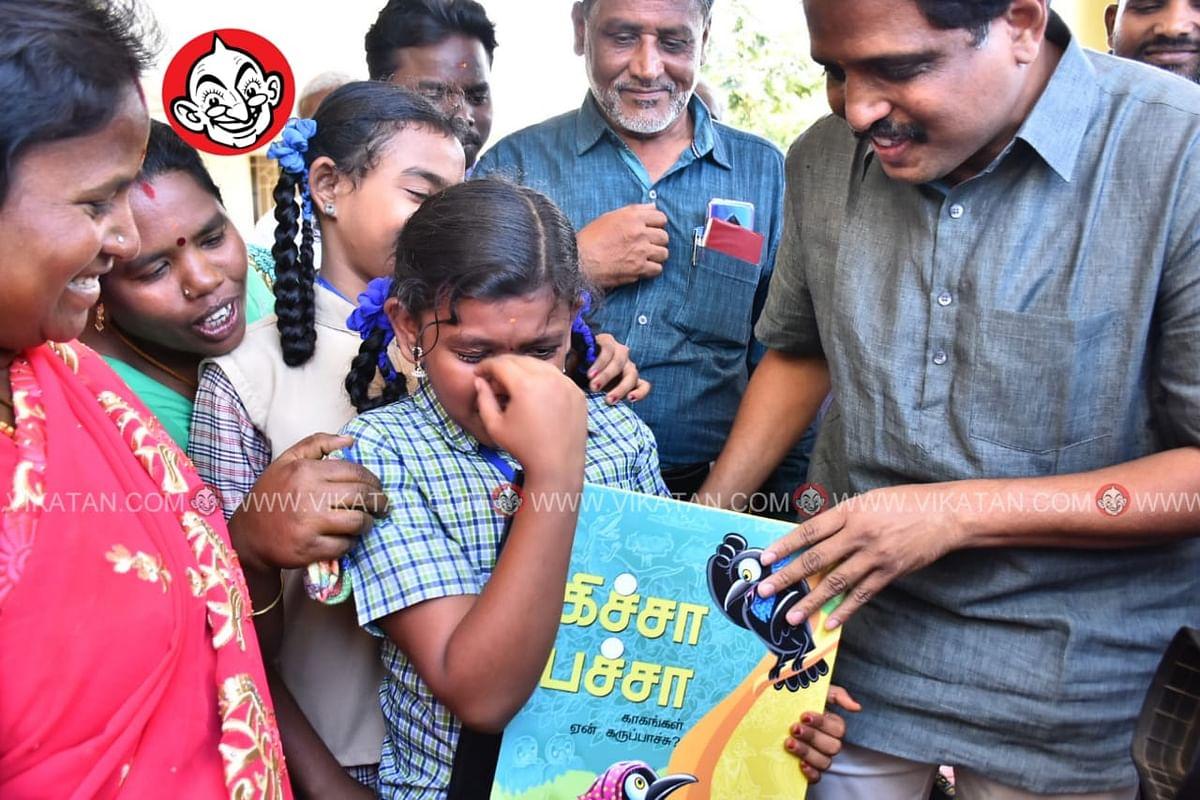 மாணவி சஹானாவுடன் எம்.பி