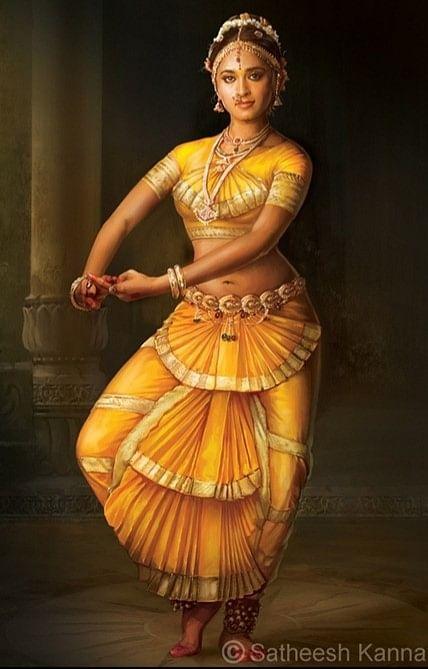 தேவா வரைந்த அனுஷ்கா ஓவியம்