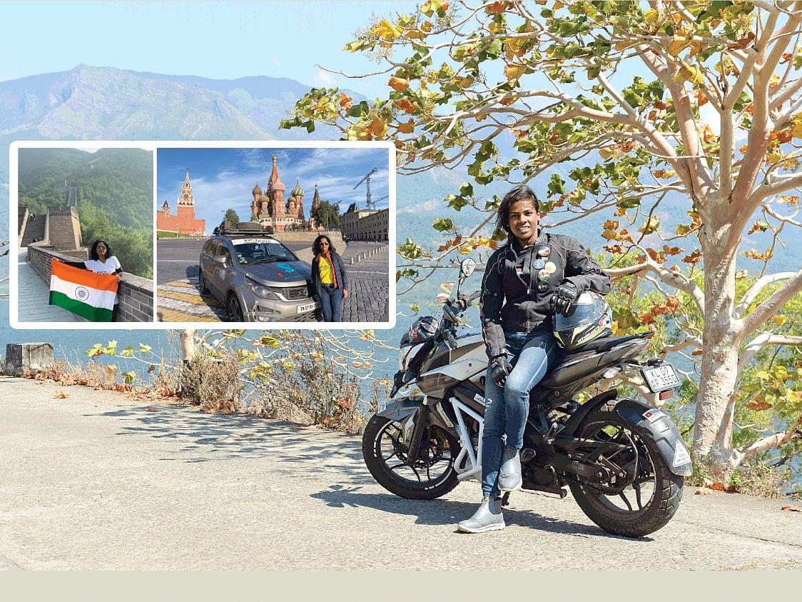 'பைக்'-கில் லட்சுமி... பாலக்காடு to லடாக்; காரில் மீனாட்சி... கோவை to ரஷ்யா!