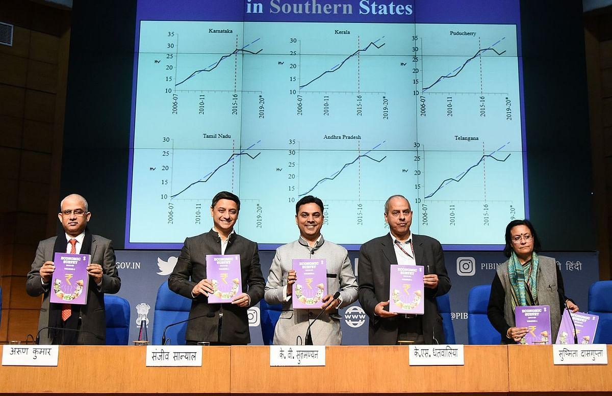 K.V. Subramanian at a Press Conference