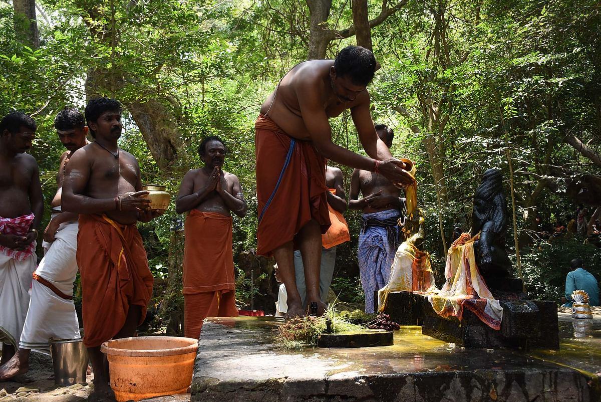 பக்தர்கள் கொண்டுவந்த பொருட்களை கொண்டு அகத்திய முனிவருக்கு  அபிஷேகம்