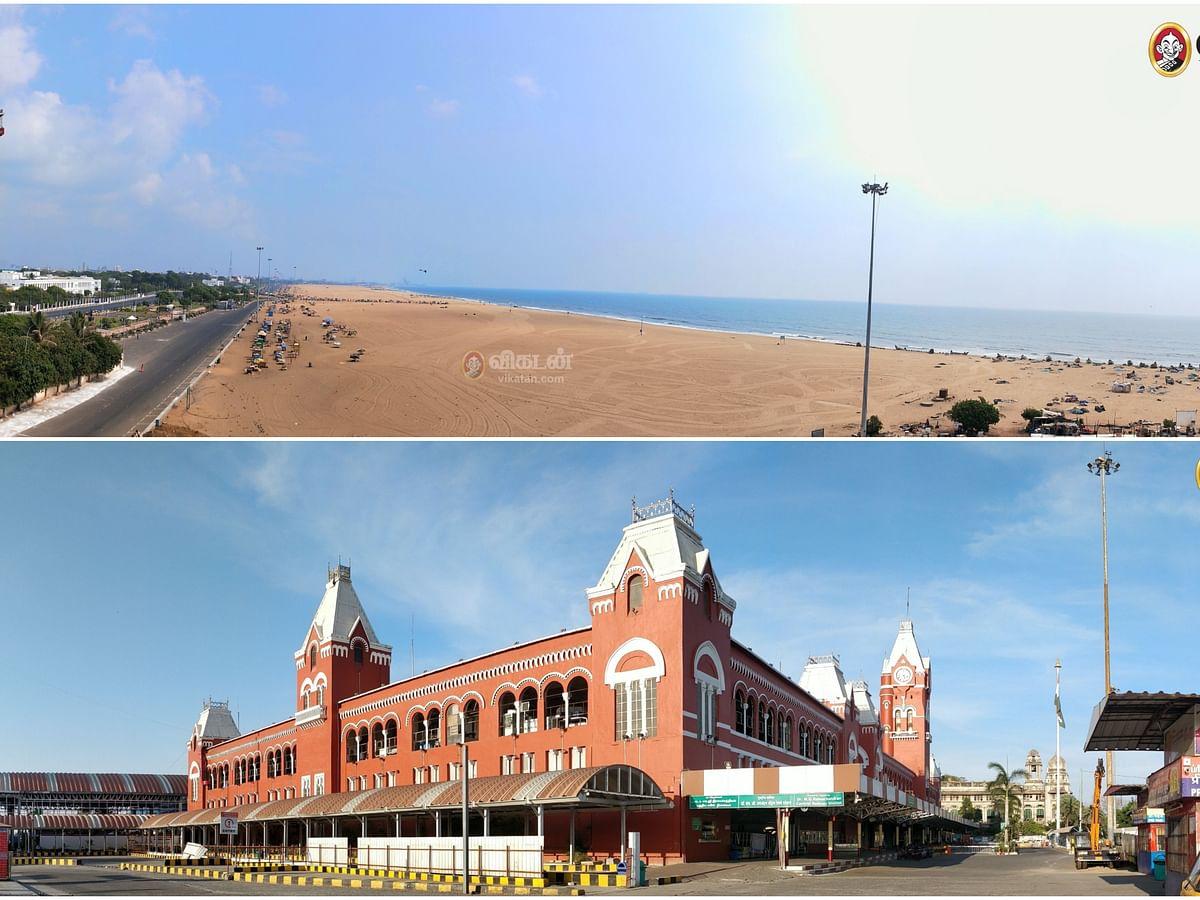 பரபரப்பான சென்னையின் முக்கிய இடங்கள்... தற்போது லாக்டௌனில் எப்படி இருக்கிறது? #PanoramicView
