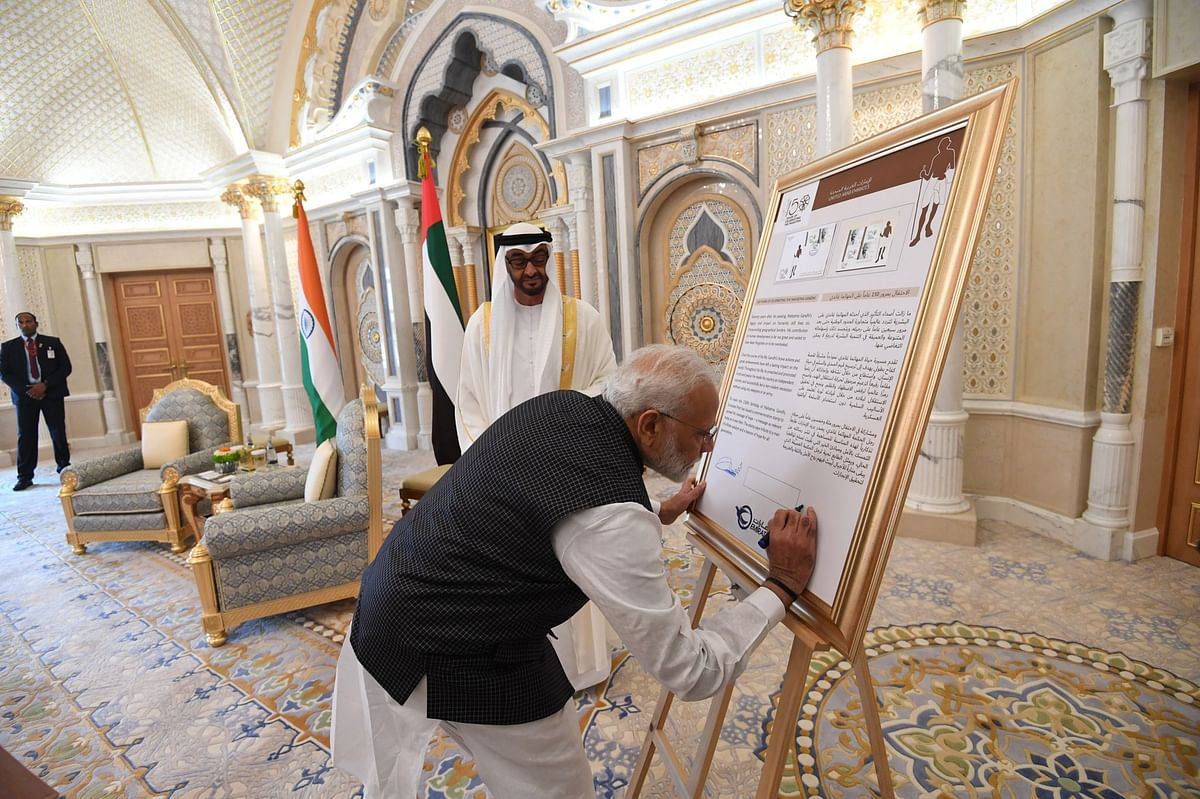 Indian PM narendra modi and Crown Prince  Mohamed Bin Zayed of Abu dhabi