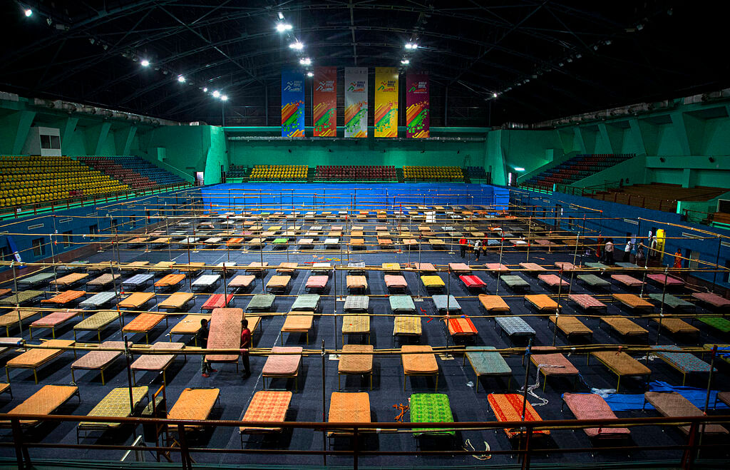 Quarantine center at the Sarusojai sports complex in Gauhati, India