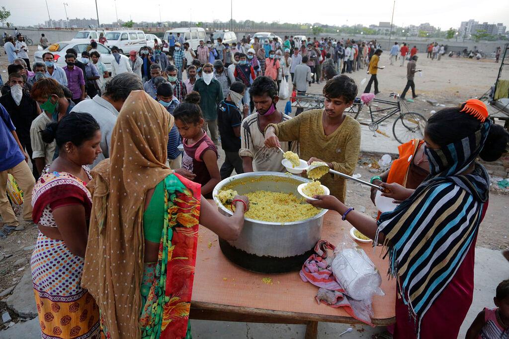 Free food distribution in Ahmedabad