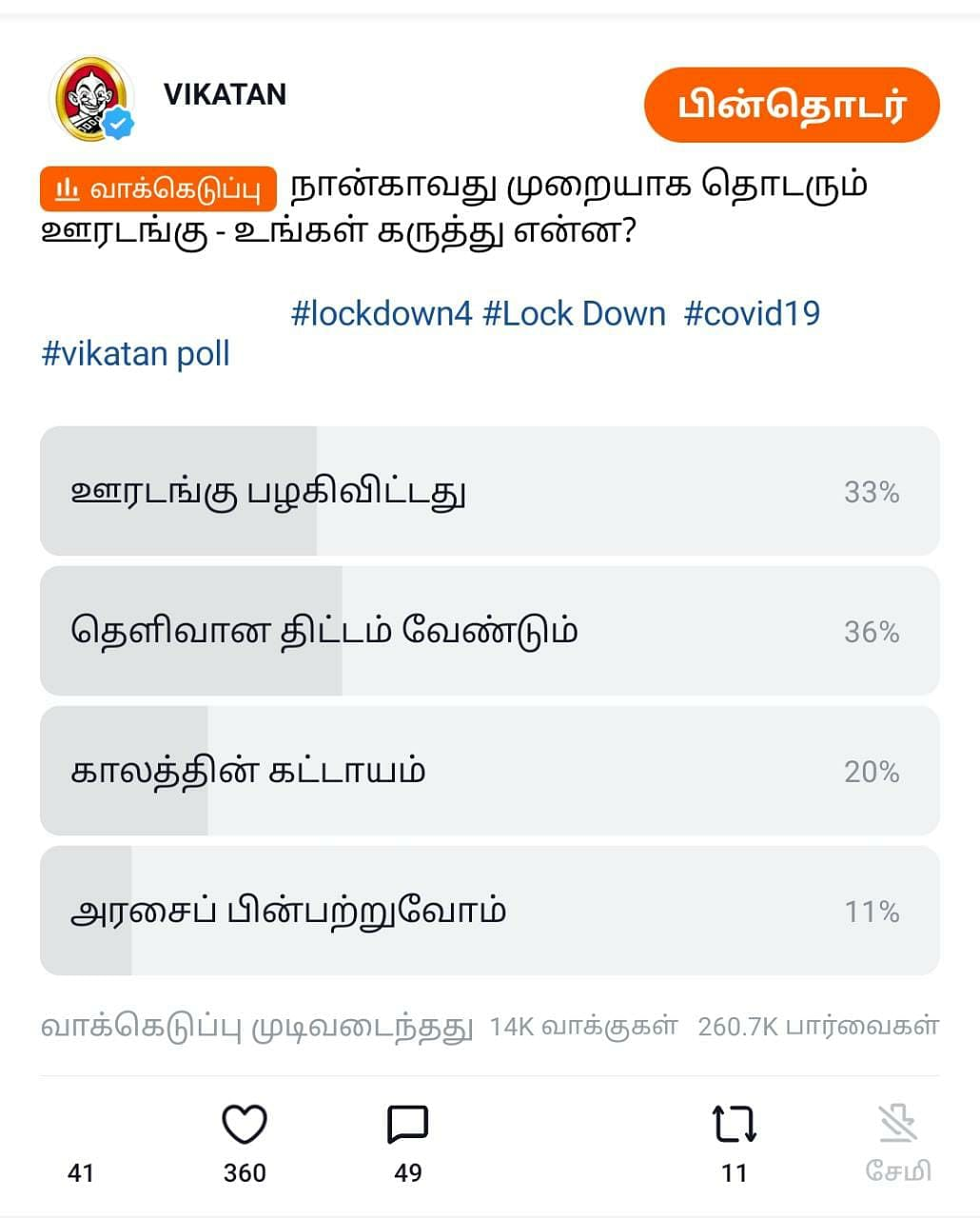 Lockdown Helo Poll