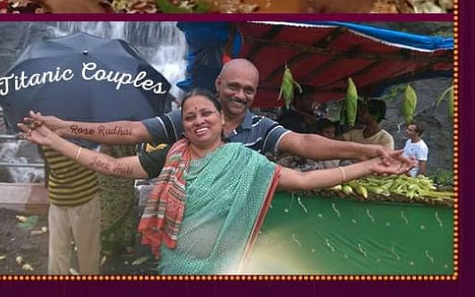 `ரோஸ்' ராதை, `ஜாக்' ஹரி... டைட்டானிக் போஸில் அறுபதாம் கல்யாணப் பத்திரிகை!