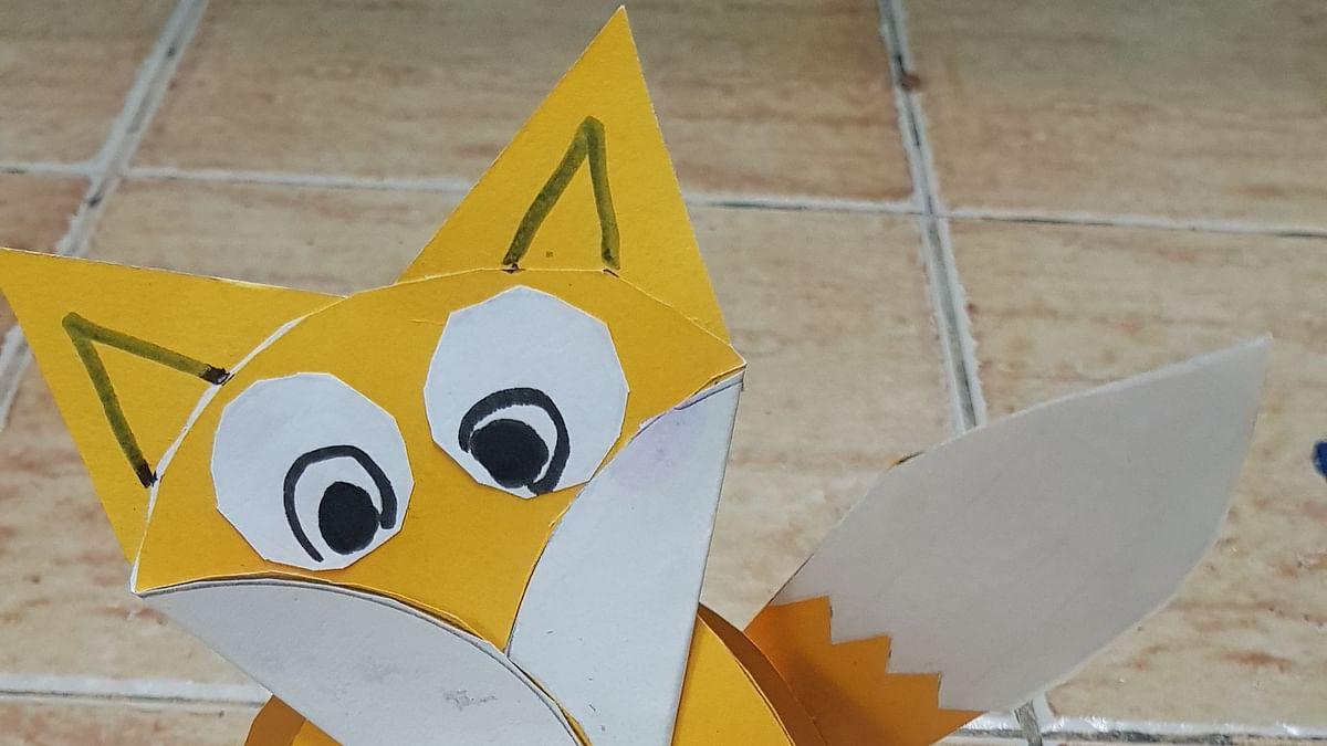 Standing Fox using paper