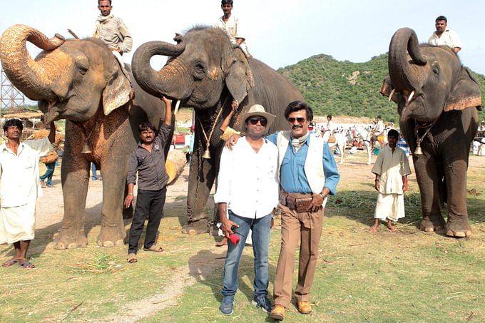 `லிங்கா' படப்பிடிப்பில் ரஜினியுடன் ஒளிப்பதிவாளர் ரத்னவேலு