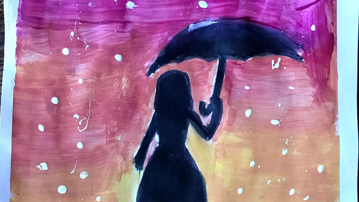 Girl with an Umbrella painting