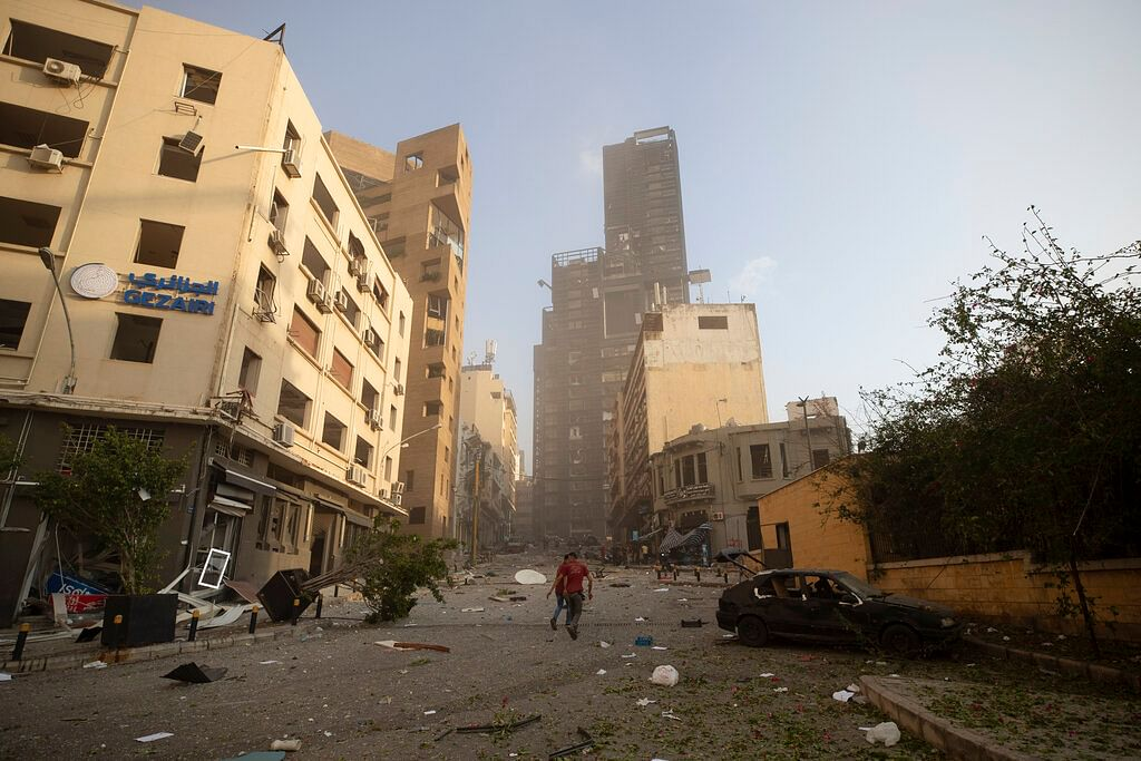 Aftermath of a massive explosion is seen in in Beirut, Lebanon