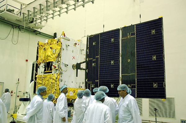 GSAT-4 with one of its solar arrays deployed