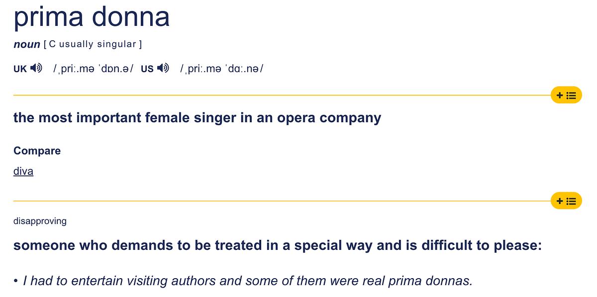 Prima donna - இரு பொருள்