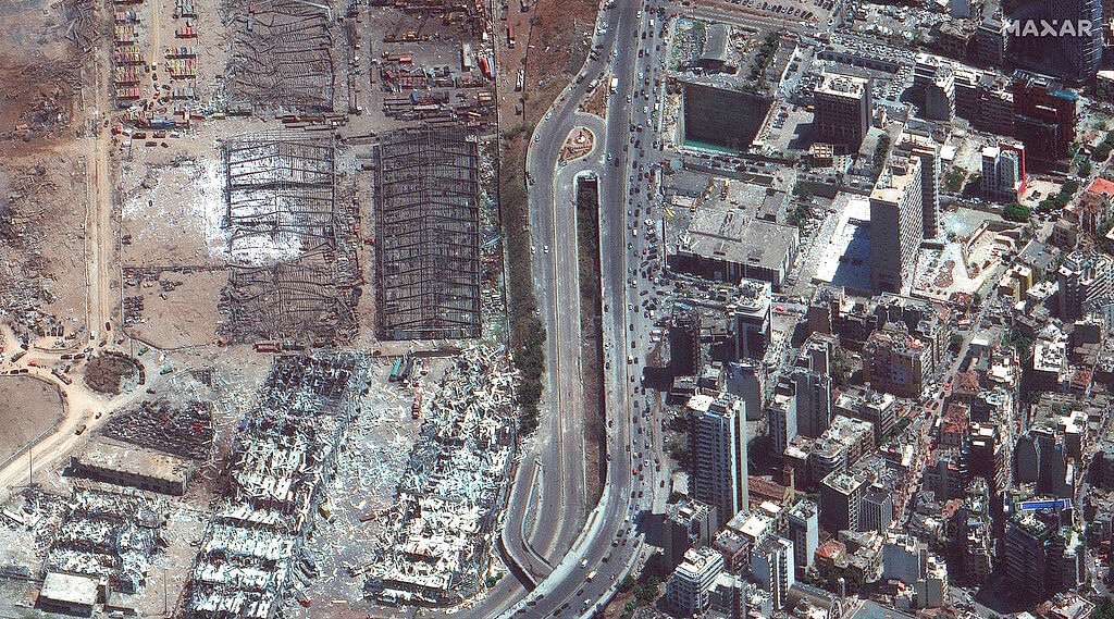 This satellite image provided by Maxar Technologies shows damaged area outside of the port of Beirut in Lebanon