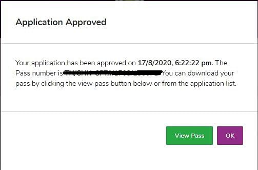 Application Approved Message