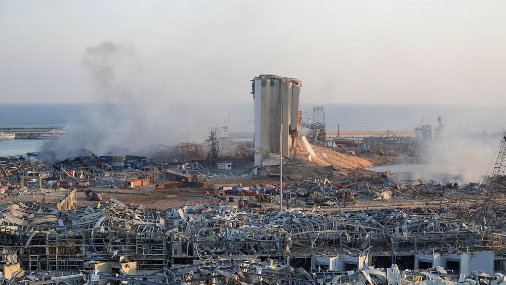 A destroyed port after a massive explosion is seen in Beirut