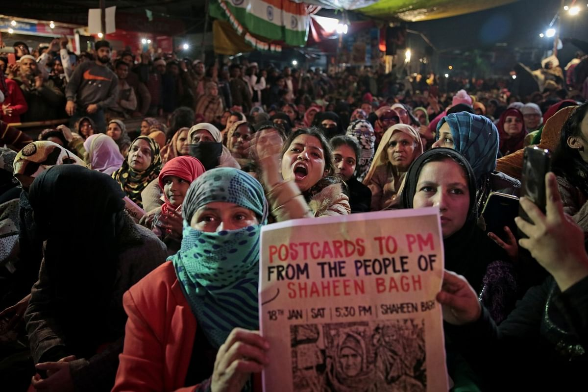 Protest site at Shaheen Bagh, in New Delhi