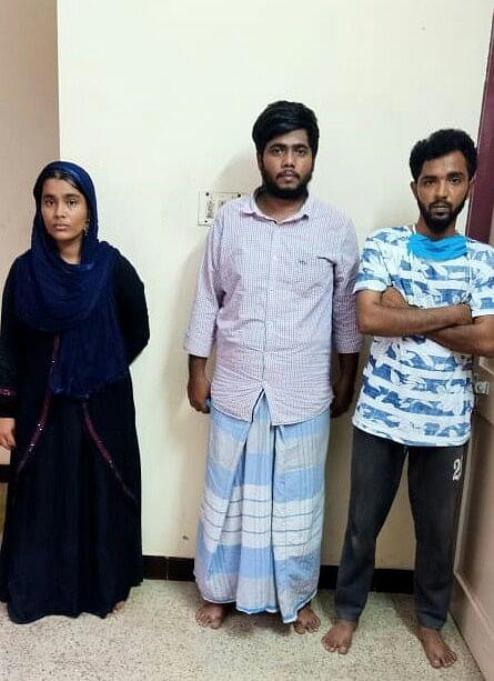 கைதான நிஷா, முகமது யாசிர் மற்றும்  ஆசிக்