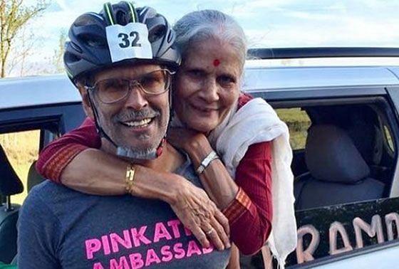 Usha soman with her son Milind Soman
