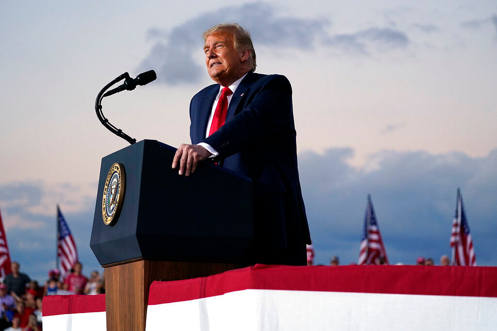US President Donald Trump speaks during a campaign rally at Orlando Sanford International Airport
