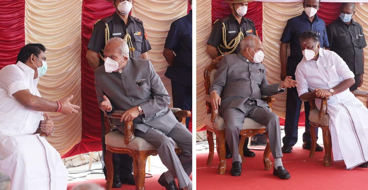 எடப்பாடி பழனிசாமி - ஆளுநர் பன்வாரிலால் - ஓ.பன்னீர்செல்வம்