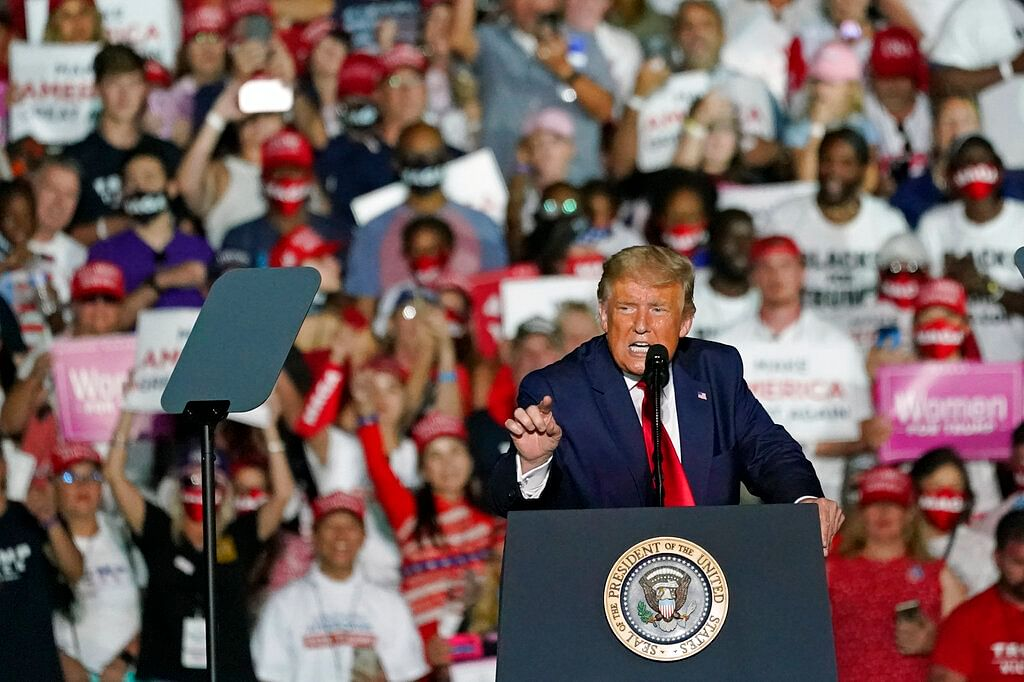 US President Donald Trump speaks at campaign rally at the Orlando Sanford International Airport