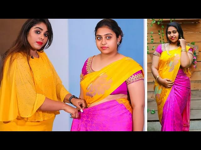 பட்டுப்புடவையில் ஒல்லியாக தெரிய இதை try பண்ணுங்க! | Fast and Easy Saree Draping tutorial in Tamil