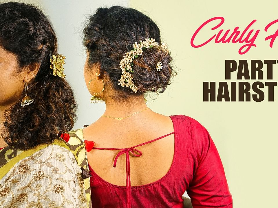 5 minute Easy Party Hairstyles for Curly Hair | Function Hairstyle