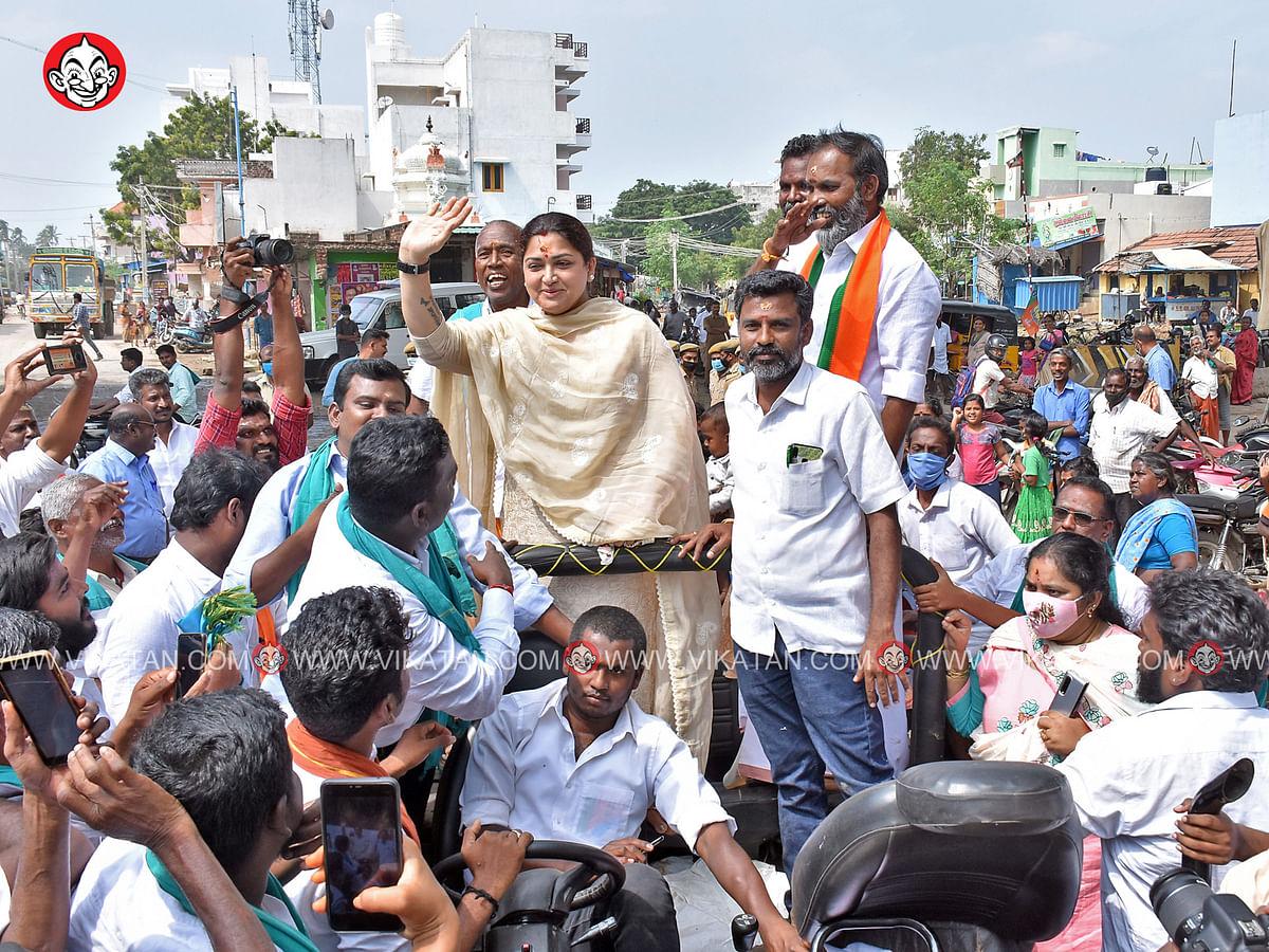 பா.ஜ.க சார்பில் மதுரையில் பிரசாரத்தைத் தொடங்கிய நடிகை குஷ்பு! #TNElection2021