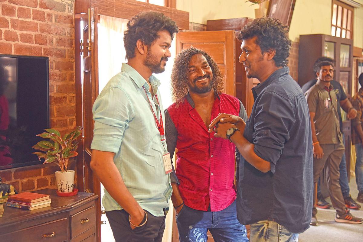 மாஸ்டர் படப்பிடிப்பில் விஜய், ஸ்டன்ட் சில்வா, லோகேஷ் கனகராஜ்