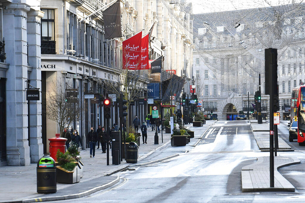 A view of part of Regent Street after Britain's Prime Minister Boris Johnson introduced Tier 4 restrictions for London