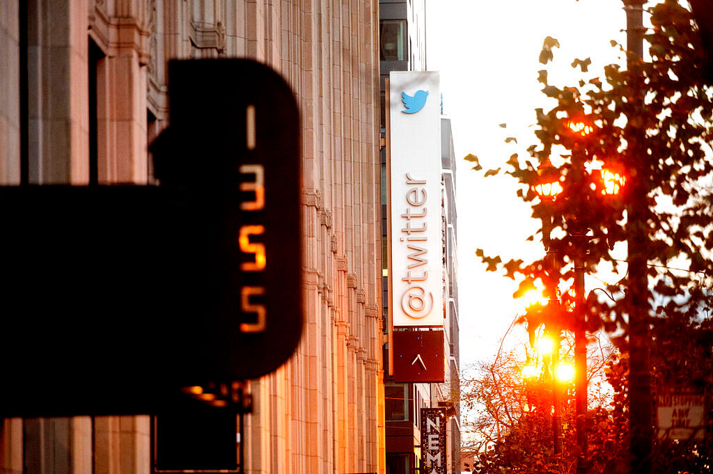 A sign hangs at Twitter headquarters in San Francisco.