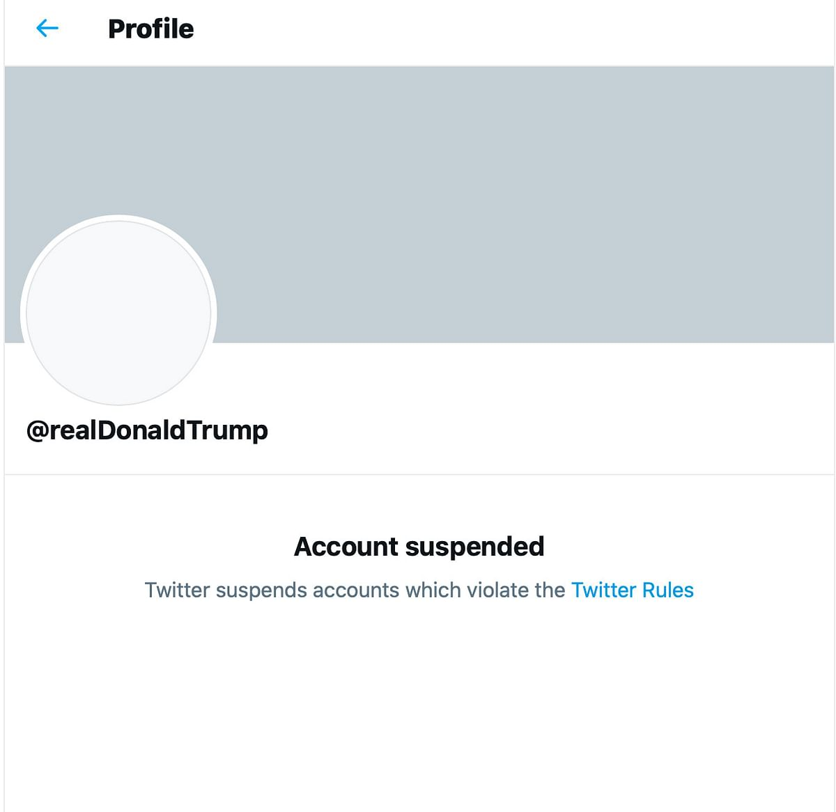 Trump Account Banned