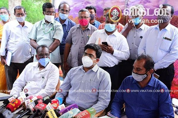 செய்தியாளர்களிடம் பேசிய நெல்லை மாவட்ட ஆட்சியர் விஷ்ணு