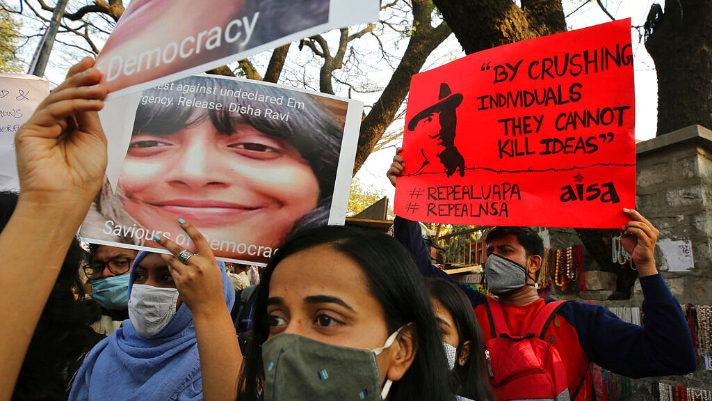 Protest against the arrest of climate activist Disha Ravi