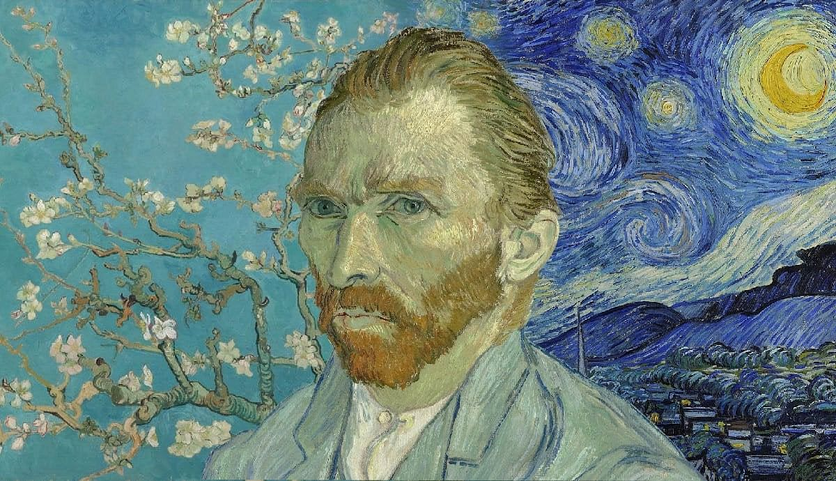 Almond blossom, Vincent Van Gogh, 1890, Van Gogh Museum (left); Starry night, Vincent Van Gogh, 1889, MoMA (right); Self-portrait, Vincent Van Gogh, 1889, Musee D'Orsay (center).