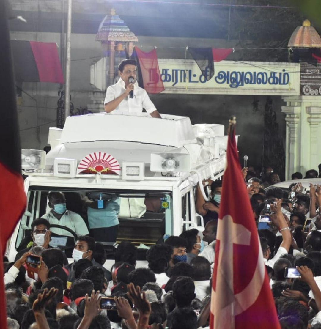 `முதன்முறையாக முதலமைச்சர் வேட்பாளராக திருவாரூர் வந்துள்ளேன்!' - தேர்தல் பிரசாரத்தில் ஸ்டாலின்