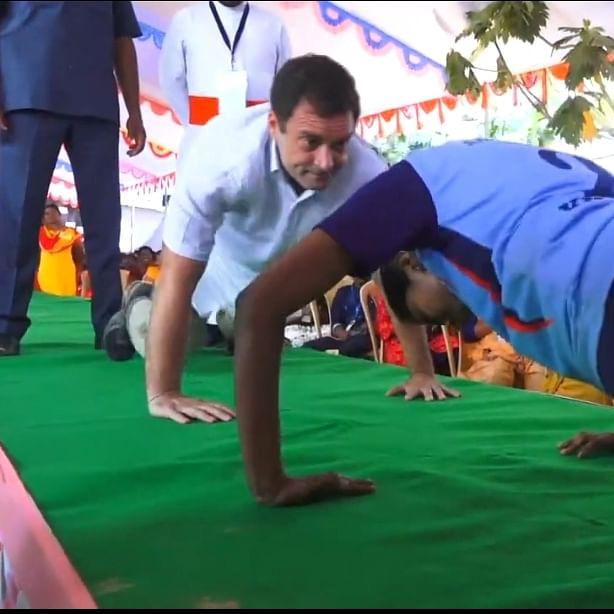 தண்டால் எடுக்கும் ராகுல் காந்தி